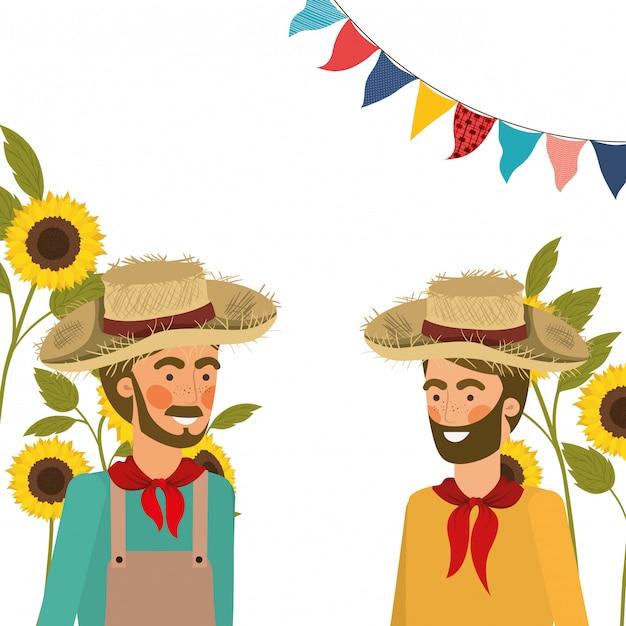 麦わら帽子と話している農民男性 無料ベクター