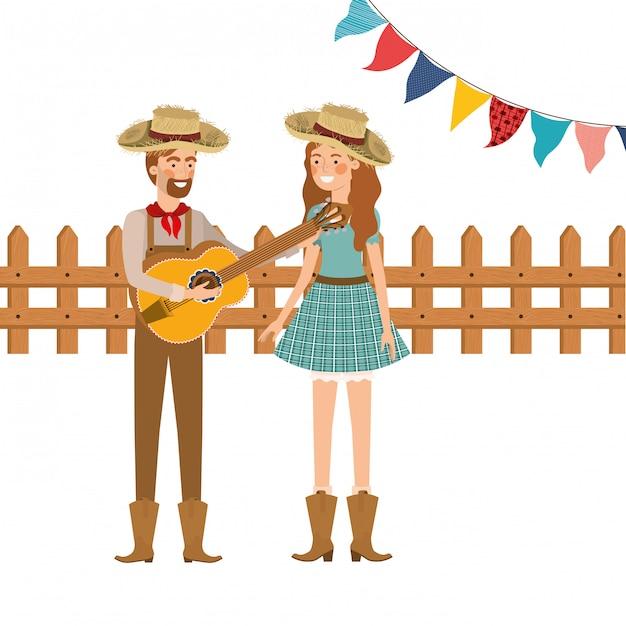 楽器と農民カップル 無料ベクター