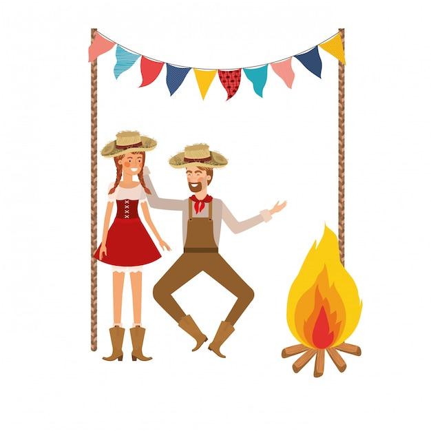 農民カップルの麦わら帽子と踊る 無料ベクター