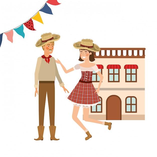 農民カップルのダンス 無料ベクター