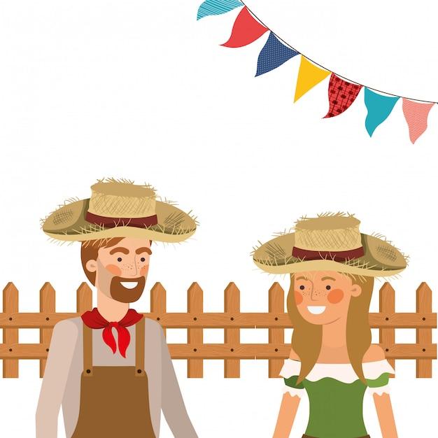 麦わら帽子と話している農民カップル 無料ベクター