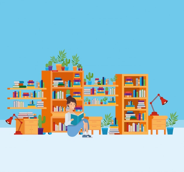 本のある自宅学習室 無料ベクター