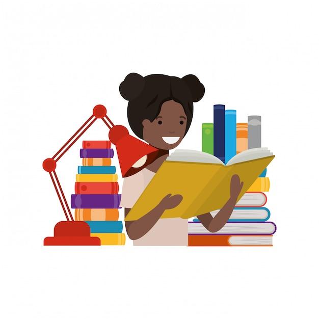 Студентка с книгой в руках Бесплатные векторы