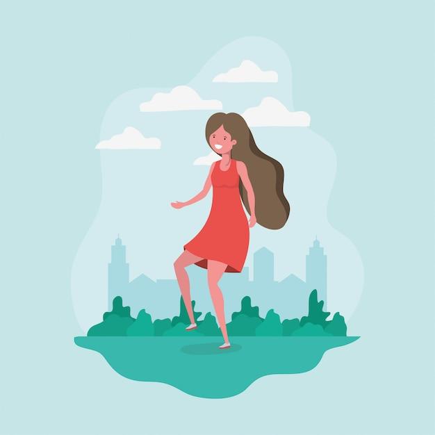 公園でジャンプのアバターの女の子 無料ベクター
