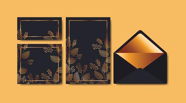 Конверт с приглашением и цветочным декором Бесплатные векторы