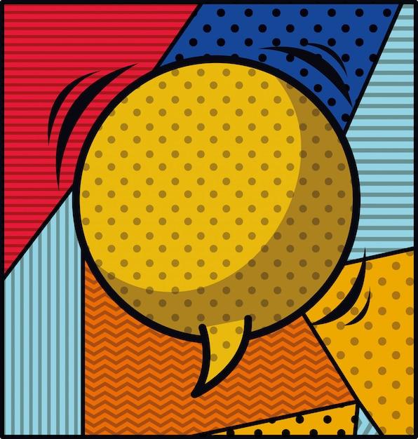 音声バブルポップアートスタイルのベクトル図 無料ベクター