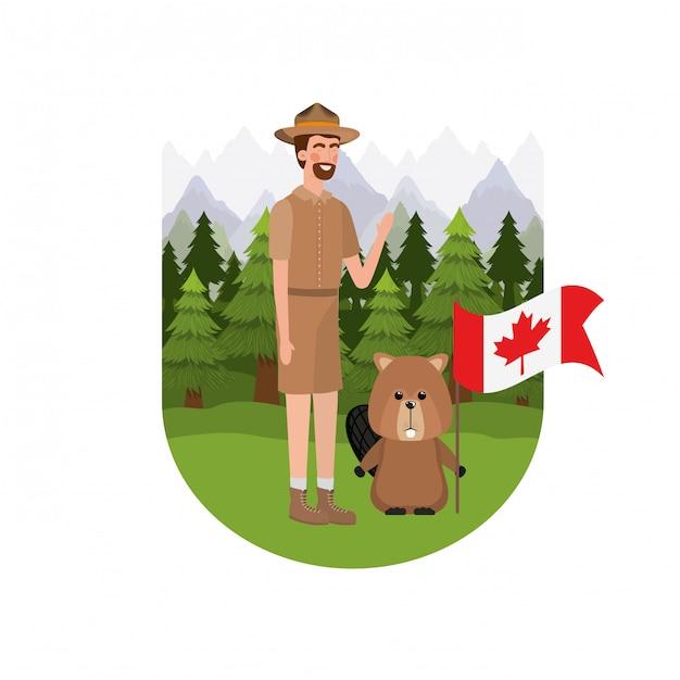 Бобровое животное и смотритель канады Бесплатные векторы