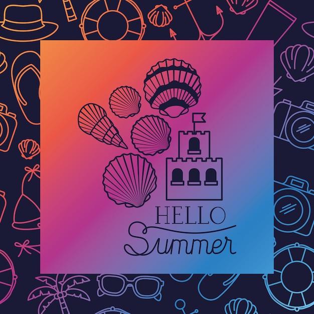 こんにちはフレーム付き夏カード 無料ベクター