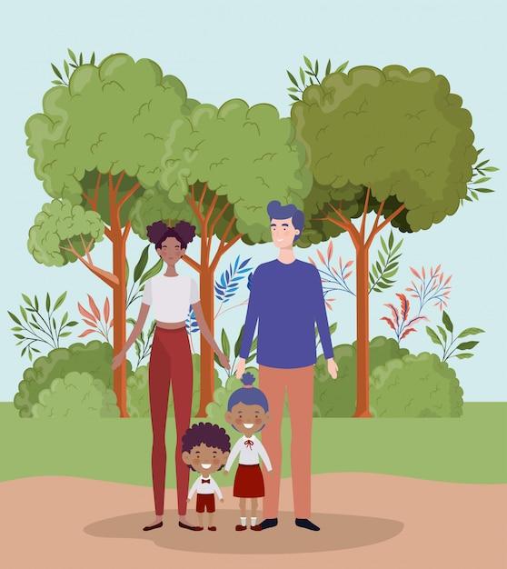 Учитель пара с маленькими учениками детей в ландшафте Бесплатные векторы