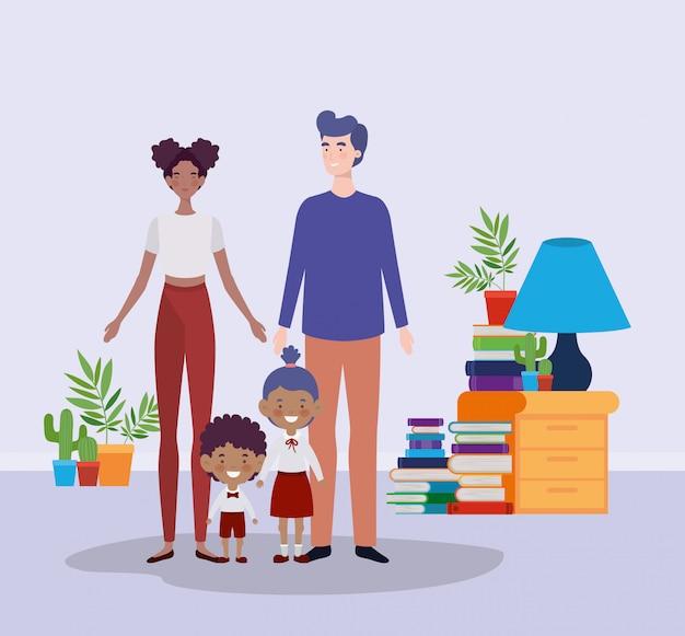 Учитель пара с маленькими учениками детей в комнате Бесплатные векторы