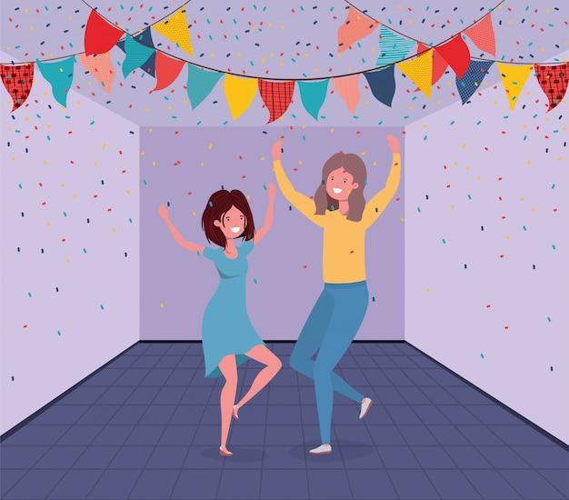 部屋で踊る若いカップル 無料ベクター