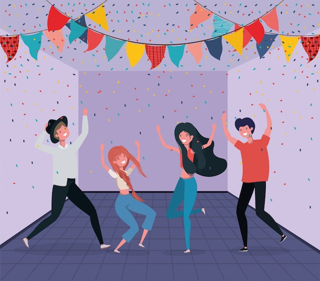 Молодые люди танцуют в комнате Бесплатные векторы