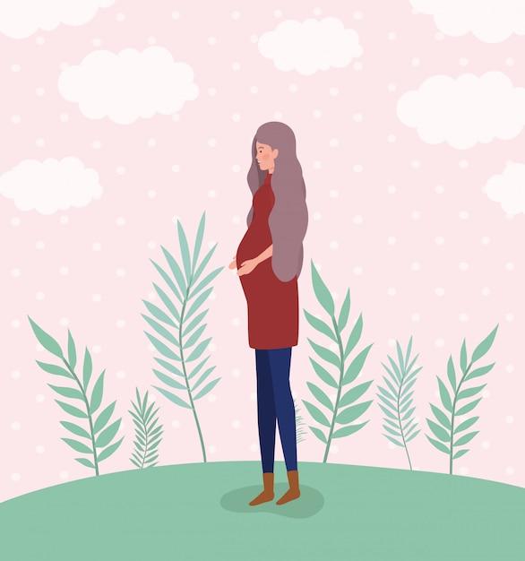 風景の中のかわいい女性の妊娠 無料ベクター