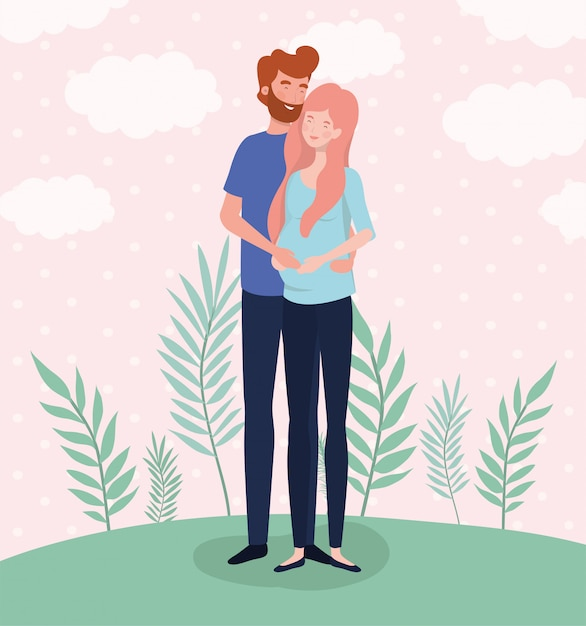 かわいい恋人たちは風景の中の妊娠文字 無料ベクター