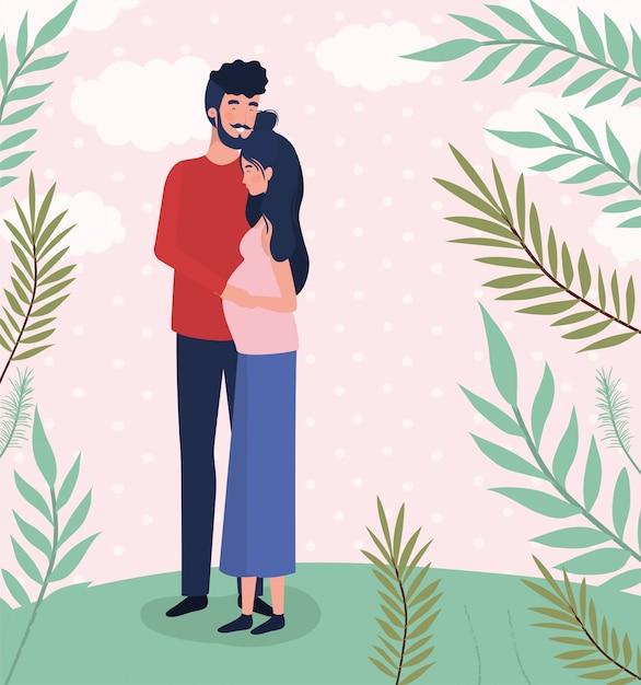 Милые любовники пара символов беременности в ландшафте Бесплатные векторы