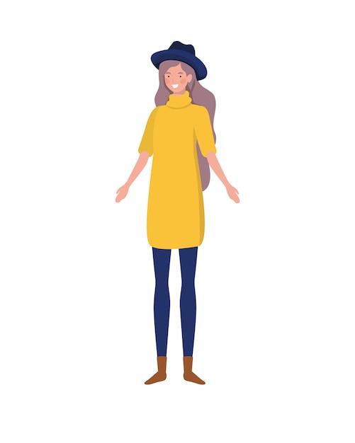 Молодая женщина, стоящая на белом Бесплатные векторы
