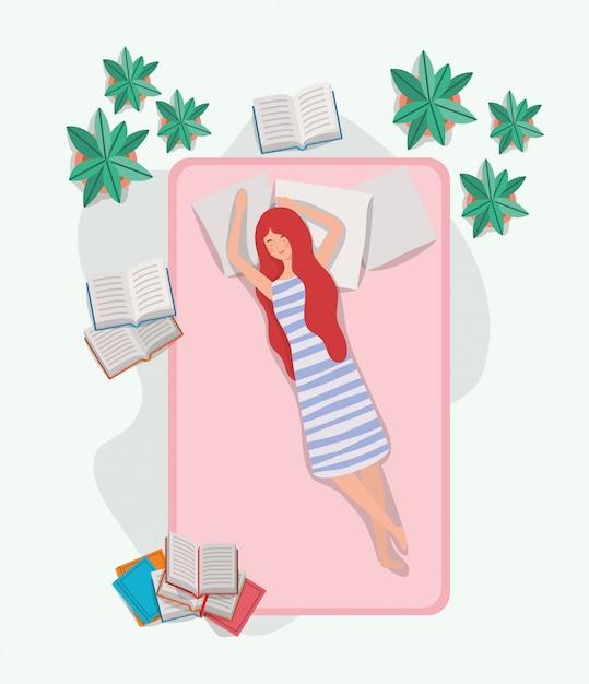 Молодая женщина расслабляющий в матрасе в спальне Бесплатные векторы