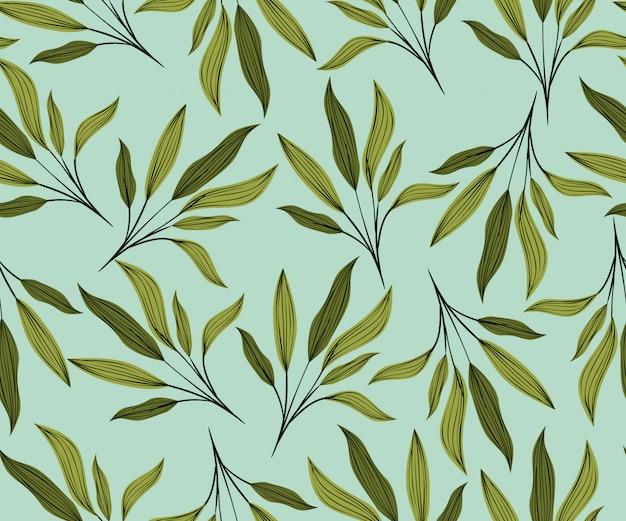緑の葉の自然なパターンの背景 無料ベクター