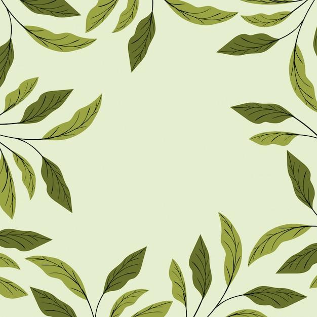 緑の葉の自然なフレーム装飾 無料ベクター