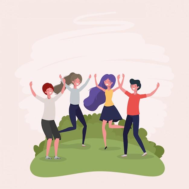 Молодые люди прыгают, празднуя в парке персонажей Бесплатные векторы