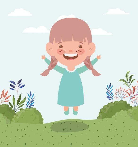 フィールド風景の中の幸せな女の子 無料ベクター