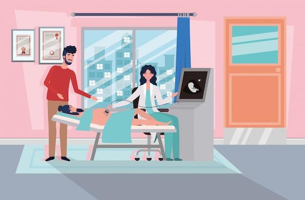 Мужчина с беременной женщиной в клинике, принимая узи Бесплатные векторы