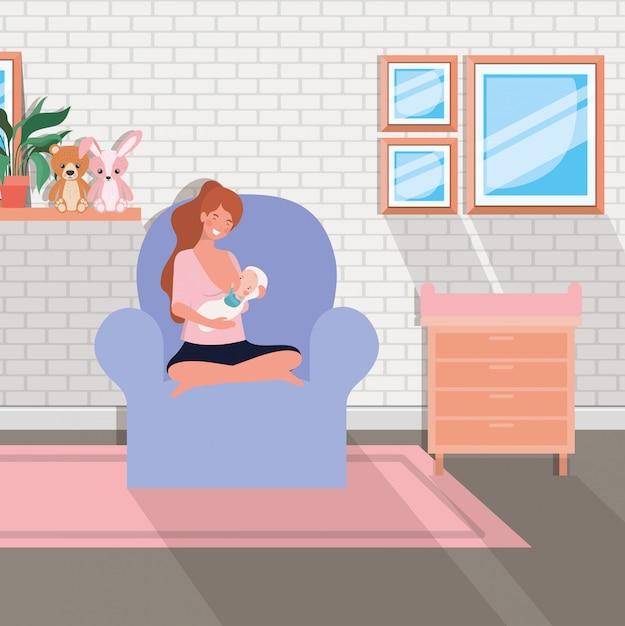 リビングルームで生まれたばかりの赤ちゃんを持つかわいい母親 無料ベクター