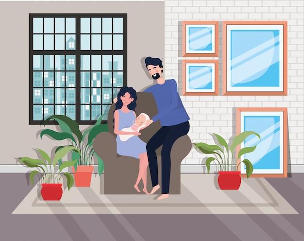 かわいい両親カップルソファで生まれたばかりの赤ちゃんと 無料ベクター