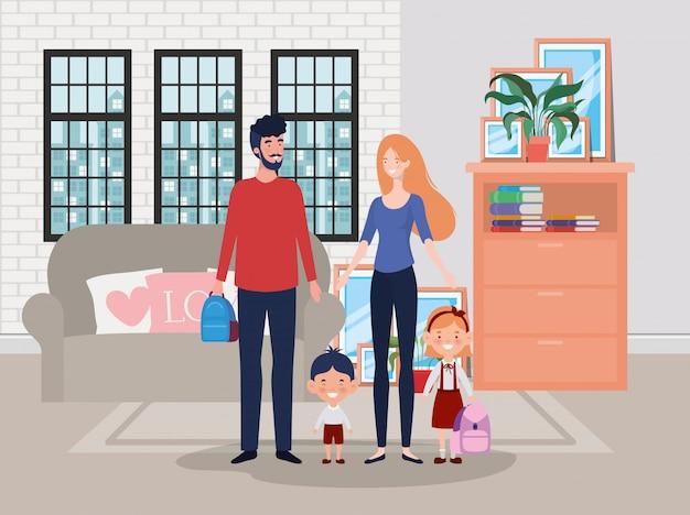 リビングルームの家のシーンで家族 無料ベクター