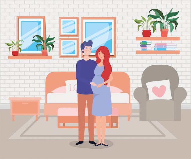 寝室のシーンで妊娠カップル 無料ベクター
