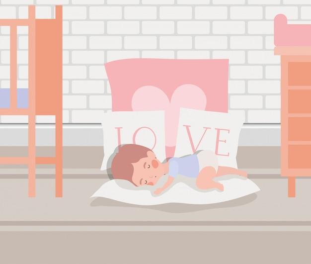 かわいいキャラクターを寝ている小さな男の子 無料ベクター
