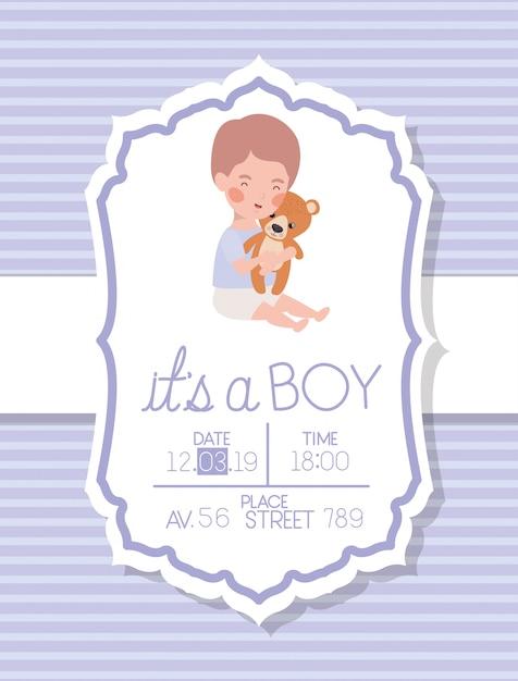 子供とクマのぬいぐるみとその男の子のベビーシャワーカード 無料ベクター