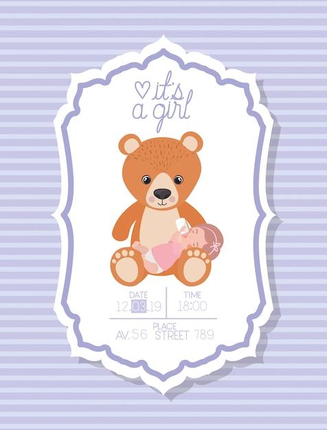 子供とクマのぬいぐるみとその女の子のベビーシャワーカード 無料ベクター