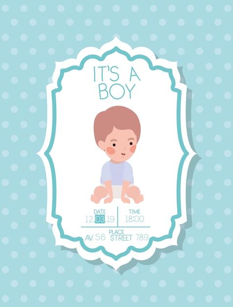 その小さな男の子とその男の子のベビーシャワーカード 無料ベクター
