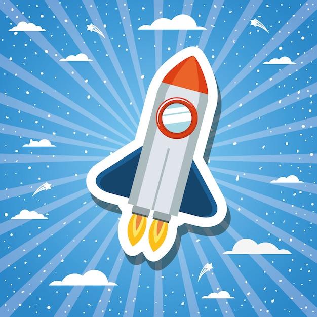 サンバーストデザインベクトル図の上のロケット Premiumベクター