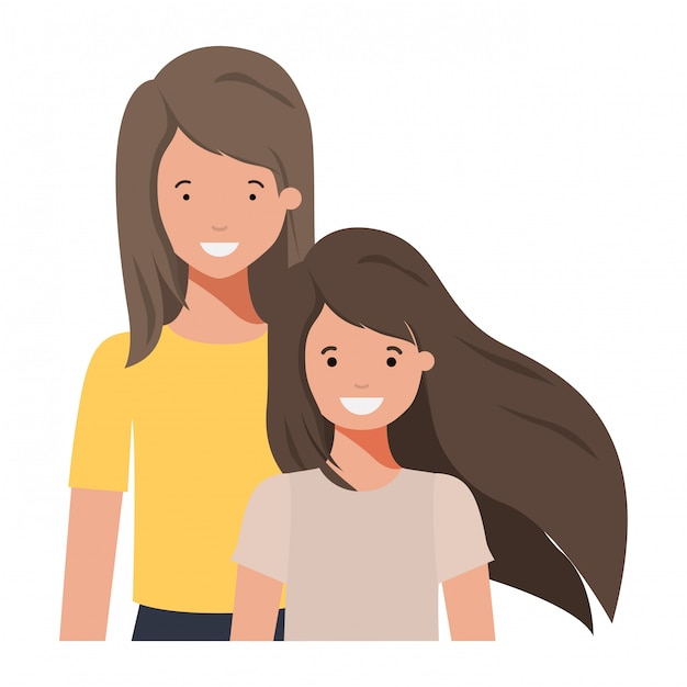 Мать и дочь, улыбаясь аватар персонажа Premium векторы