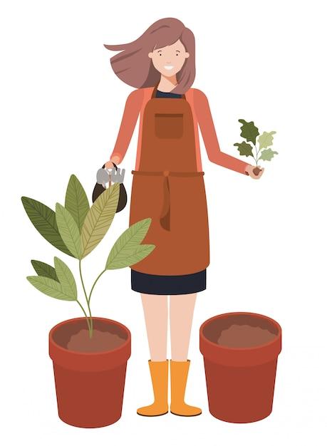 若い女性庭師アバターキャラクター Premiumベクター