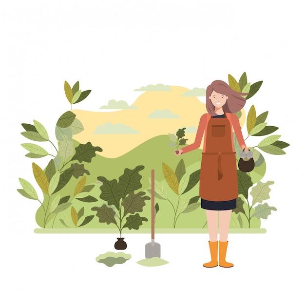 Женщина-садовник с пейзажным персонажем Premium векторы