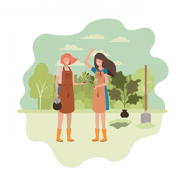 Женщины-садовники с пейзажным аватарным характером Premium векторы
