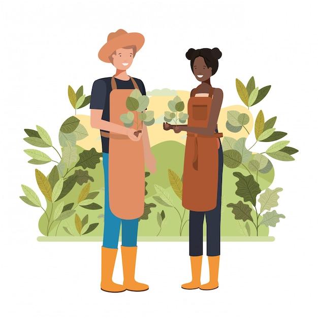 風景のアバター文字を持つ庭師のカップル Premiumベクター