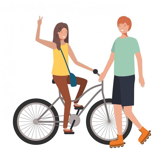若いカップルのスポーツのアバターキャラクターの練習 Premiumベクター