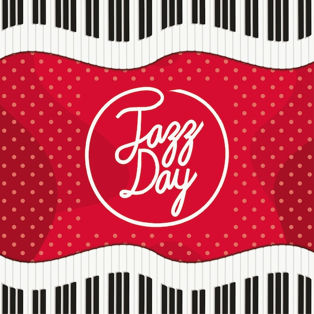 ピアノキーボードとジャズの日のポスター Premiumベクター