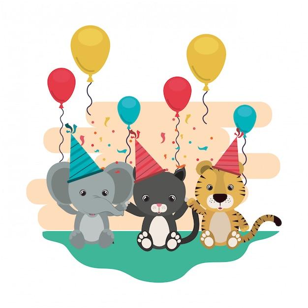 動物とのお祝いのカード Premiumベクター