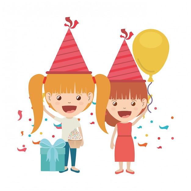 誕生日のお祝いにパーティー帽子とヘリウム風船を持つ女の子 Premiumベクター