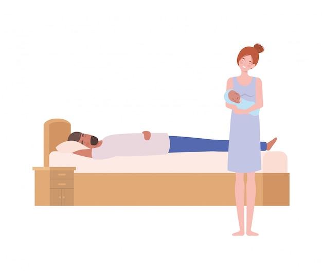 Молодая пара в постели с новорожденным ребенком Premium векторы