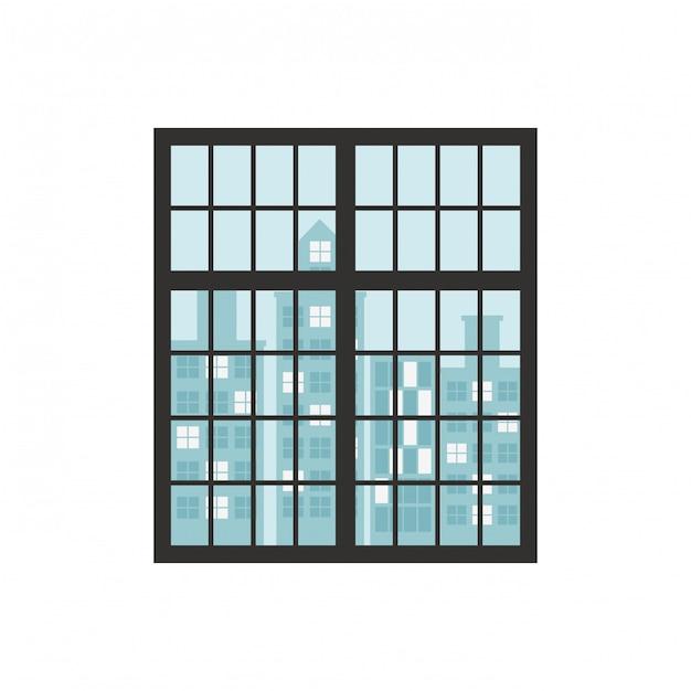 窓と建物のある壁 Premiumベクター