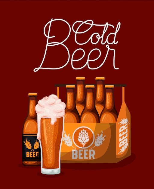 Этикетка пива счастливого часа с стеклом и бутылками в корзине Premium векторы