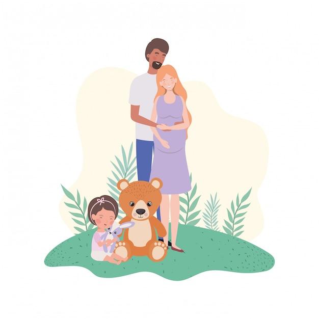 夫と赤ちゃんと妊娠中の女性 Premiumベクター