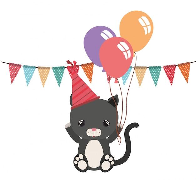 風船ヘリウムでかわいい猫動物 Premiumベクター