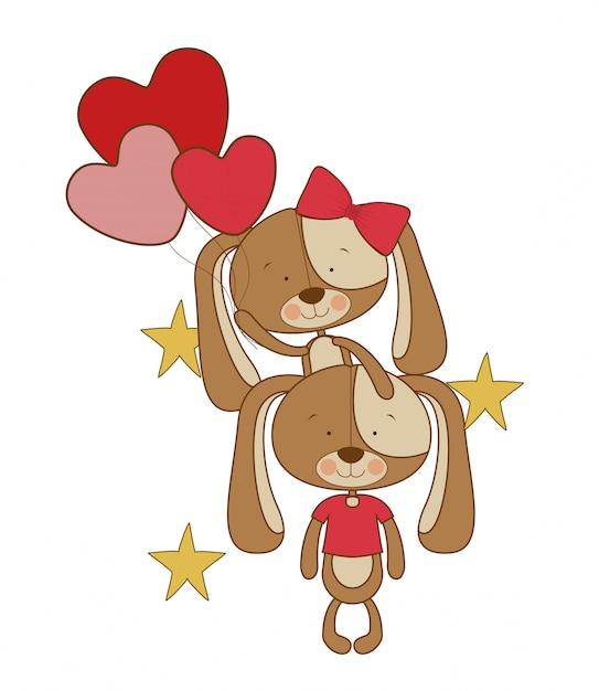 子犬のかわいいカップル Premiumベクター
